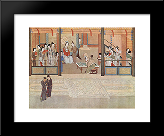 Spring Morning In The Han Palace (View I, Detail): Modern Black Framed Art Print by Qiu Ying