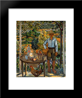 Boy With Chicken: Modern Black Framed Art Print by Rafael Zabaleta