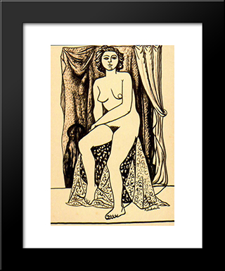 Female Nude: Modern Black Framed Art Print by Rafael Zabaleta