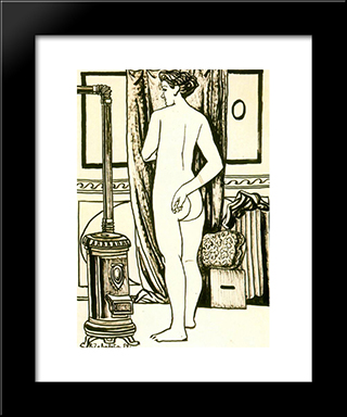 Female Nude From Back With Stove: Modern Black Framed Art Print by Rafael Zabaleta