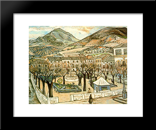 Garden Of Quesada In Winter: Modern Black Framed Art Print by Rafael Zabaleta