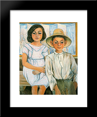 Girl Sitting And Boy With Hat Standing: Modern Black Framed Art Print by Rafael Zabaleta