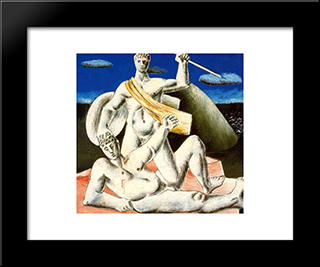 Gladiators: Modern Black Framed Art Print by Rafael Zabaleta