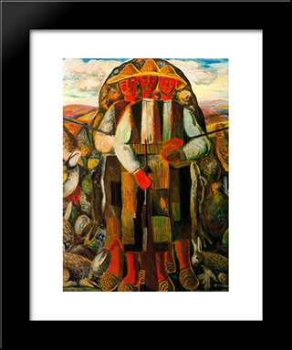 Hunters: Modern Black Framed Art Print by Rafael Zabaleta
