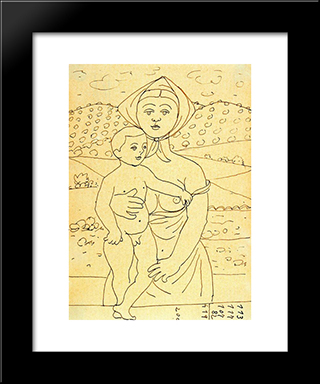 Maternity: Modern Black Framed Art Print by Rafael Zabaleta