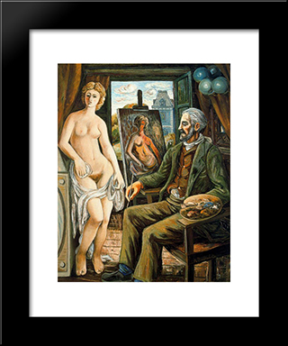 Model And Painter With Easel: Modern Black Framed Art Print by Rafael Zabaleta