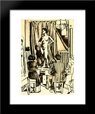 Model And Two Painters Sitting: Modern Black Framed Art Print by Rafael Zabaleta