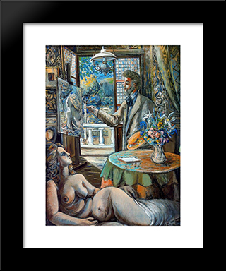 Painter And Reclining Model: Modern Black Framed Art Print by Rafael Zabaleta