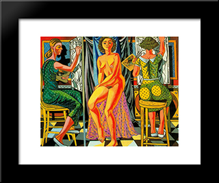 Painters And Model: Modern Black Framed Art Print by Rafael Zabaleta