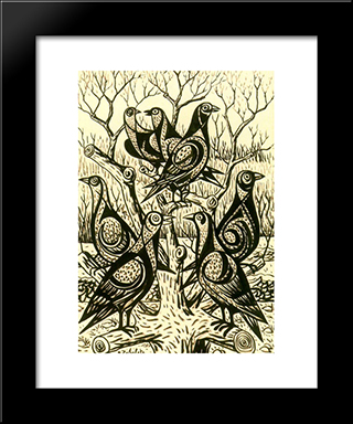 Partridges: Modern Black Framed Art Print by Rafael Zabaleta