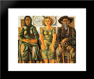 Peasant Family: Modern Black Framed Art Print by Rafael Zabaleta