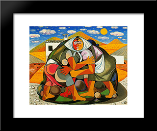 Peasants: Modern Black Framed Art Print by Rafael Zabaleta