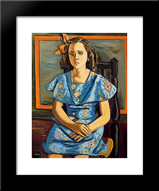 Portrait Of Girl Sitting: Modern Black Framed Art Print by Rafael Zabaleta