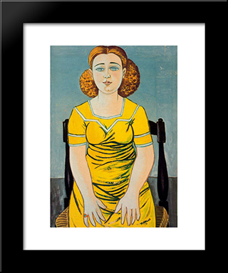 Portrait Of Seated Blonde Woman: Modern Black Framed Art Print by Rafael Zabaleta
