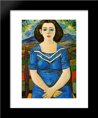 Portrait Of Seated Brunette: Modern Black Framed Art Print by Rafael Zabaleta