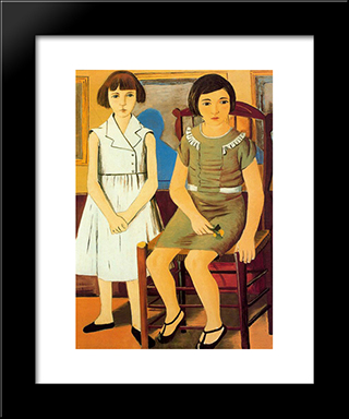 Portrait Of Two Girls: Modern Black Framed Art Print by Rafael Zabaleta