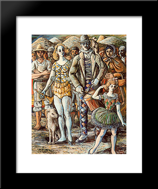 Puppeteer In The Town Square: Modern Black Framed Art Print by Rafael Zabaleta