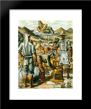Reapers In The Age And Ceres: Modern Black Framed Art Print by Rafael Zabaleta