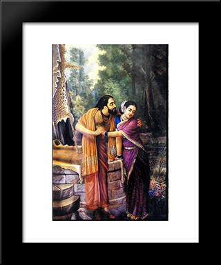 Arjuna And Subhadra: Modern Black Framed Art Print by Raja Ravi Varma