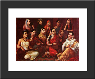Galaxy Of Musicians: Modern Black Framed Art Print by Raja Ravi Varma