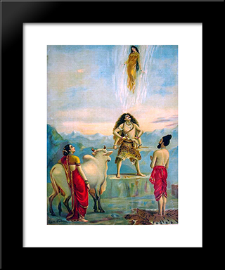 Ganga Avataran Or Descent Of Ganga: Modern Black Framed Art Print by Raja Ravi Varma