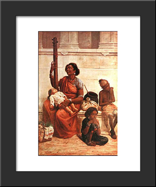 Gypsies: Modern Black Framed Art Print by Raja Ravi Varma