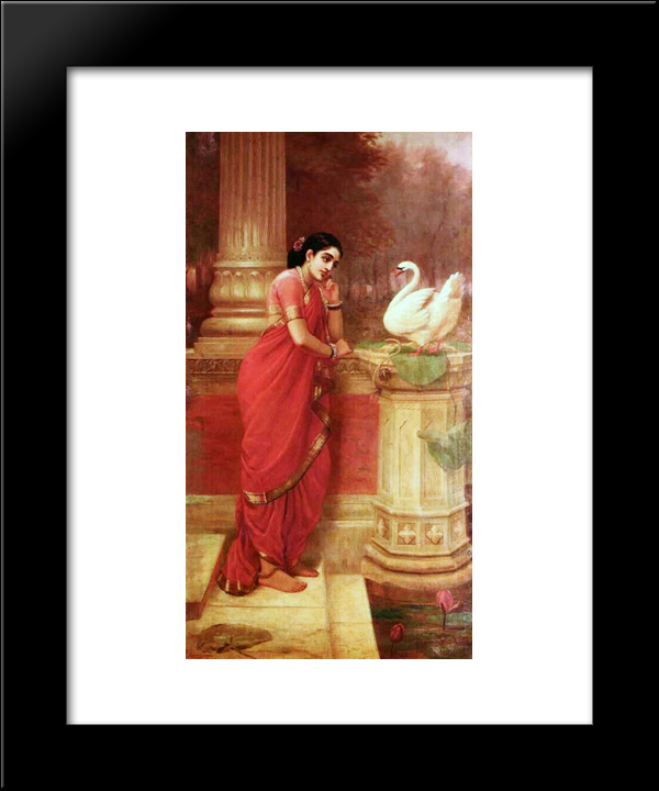 Hamsa Damayanti: Modern Black Framed Art Print by Raja Ravi Varma