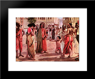 Harischandra In Distress, Having Lost His Kingdom And All The Wealth Parting With His Only Son In An Auction: Modern Black Framed Art Print by Raja Ravi Varma