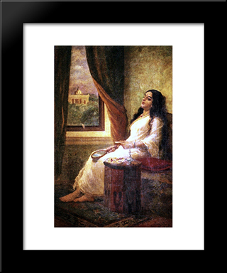 In Contemplation: Modern Black Framed Art Print by Raja Ravi Varma