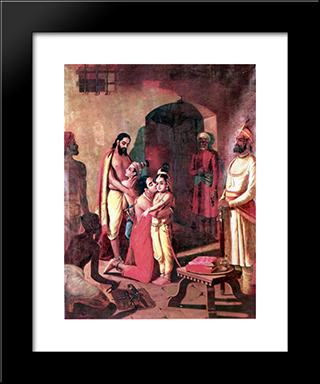 Krishna Meets Parents: Modern Black Framed Art Print by Raja Ravi Varma