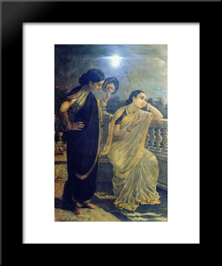 Ladies In The Moonlight: Modern Black Framed Art Print by Raja Ravi Varma