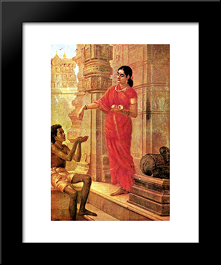 Lady Giving Alms: Modern Black Framed Art Print by Raja Ravi Varma