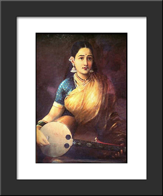 Lady With Swarbat: Modern Black Framed Art Print by Raja Ravi Varma