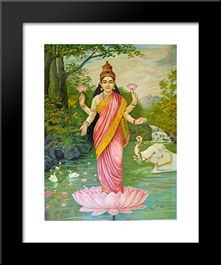 Lakshmi, The Goddess Of Wealth: Modern Black Framed Art Print by Raja Ravi Varma