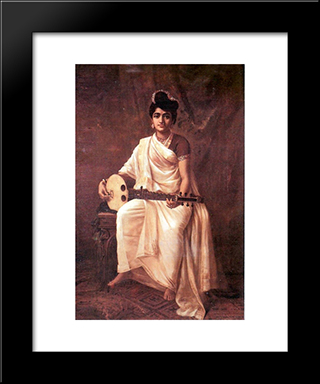 Malabar Lady: Modern Black Framed Art Print by Raja Ravi Varma