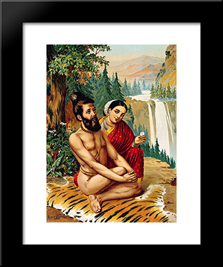 Menaka The Nymph Tempting The Yogi: Modern Black Framed Art Print by Raja Ravi Varma