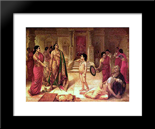 Mohini And Rugmangada To Kill His Own Son Raja Ravi Varma: Modern Black Framed Art Print by Raja Ravi Varma