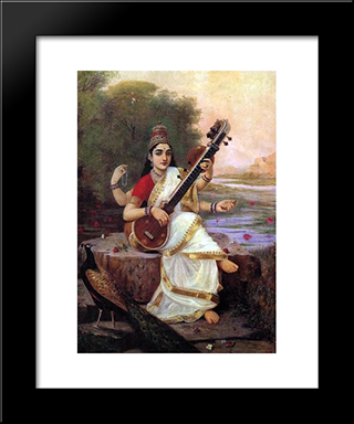 Painting Of The Goddess Saraswati: Modern Black Framed Art Print by Raja Ravi Varma