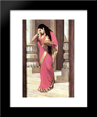 Pleasing: Modern Black Framed Art Print by Raja Ravi Varma