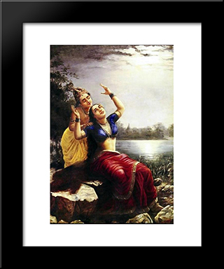Radha And Madhav: Modern Black Framed Art Print by Raja Ravi Varma