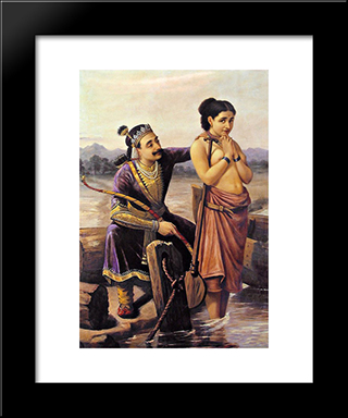 Santhanu And Matsyagandhi: Modern Black Framed Art Print by Raja Ravi Varma