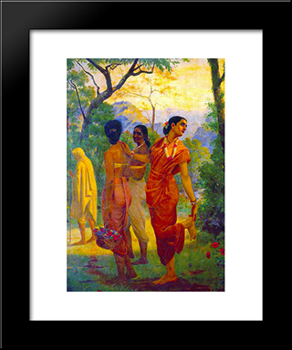 Shakuntala Looking Back To Glimpse Dushyanta: Modern Black Framed Art Print by Raja Ravi Varma