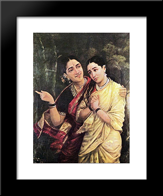 Simhika And Sairandri: Modern Black Framed Art Print by Raja Ravi Varma