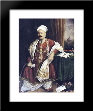 Sir T. Madhava Rao: Modern Black Framed Art Print by Raja Ravi Varma