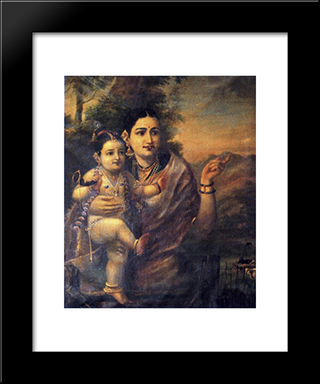 Sri Krishna, As A Young Child With Foster Mother Yasoda: Modern Black Framed Art Print by Raja Ravi Varma