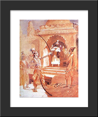 Sri Rama Breaking The Bow: Modern Black Framed Art Print by Raja Ravi Varma