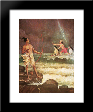 Sri Rama Vanquishing The Sea: Modern Black Framed Art Print by Raja Ravi Varma