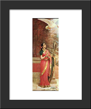 Swan Messenger: Modern Black Framed Art Print by Raja Ravi Varma