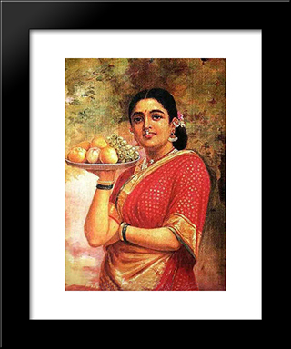 The Maharashtrian Lady: Modern Black Framed Art Print by Raja Ravi Varma