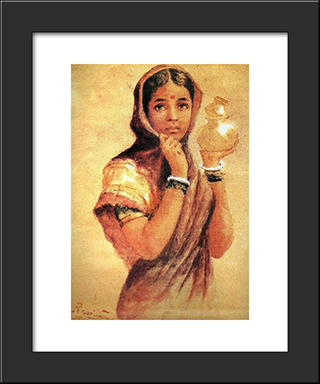 The Milkmaid: Modern Black Framed Art Print by Raja Ravi Varma